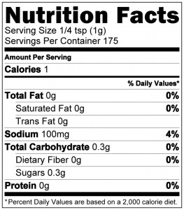 Black Ops Nutrition Label