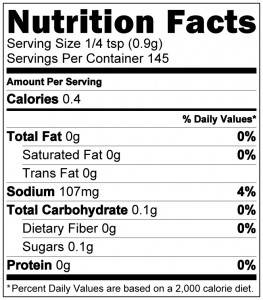 Carne Crosta Nutrition Label