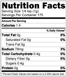 Habanero Death Dust Nutrition Label