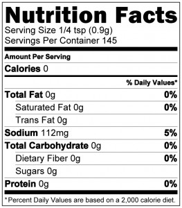 Santa Maria Nutrition Label