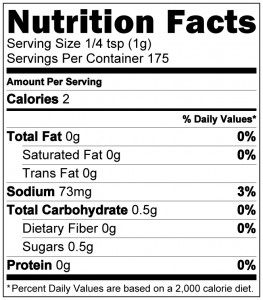 Secret Weapon Nutrition Label