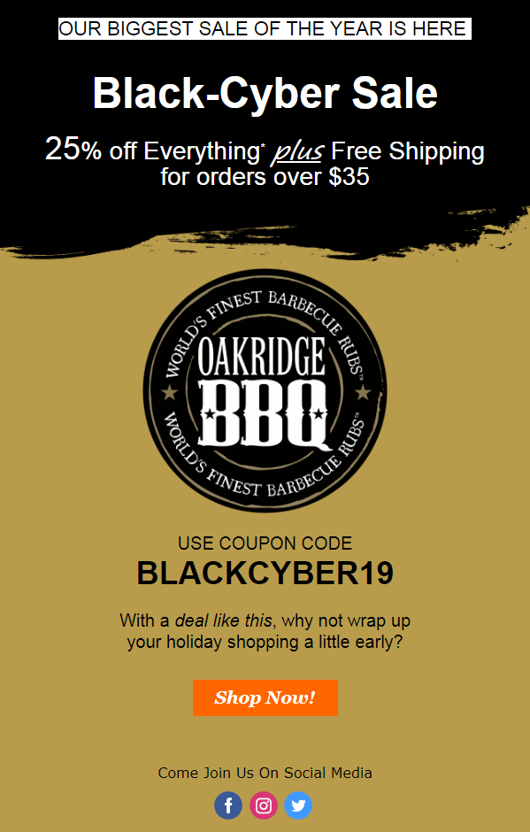 oakridge bbq black friday cyber monday black-cyber sale 2019